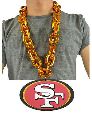 NFL San Francisco 49ers Fire GOLD Fan Chain Necklace Foam Magnet Made in USA
