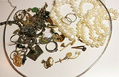 Vintage In Seattle Lot405 scrap lot with 14K10K925sterling gold fill pearls