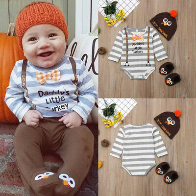 US Infant Baby Boy Girl Thanksgiving Romper Bodysuit Jumpsuit Outfit Clothes
