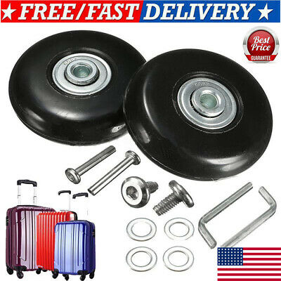 Black 2 Set Luggage Suitcase Replacement Wheels Wrench Repair OD 50mm Axles USA