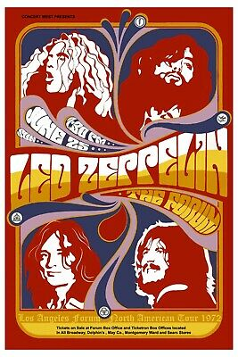 Led Zeppelin at The Forum in Ingelwood California Concert Poster 1972   12x18