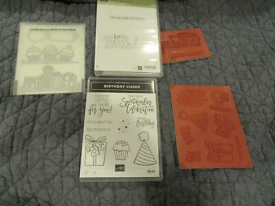 Lot Stampin Up Stamp Set Birthday Cheer Wishes for you - Detailed Edgelits Dies