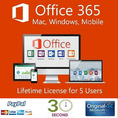 Office 365 - 2016 PRO PLUS Lifetime - license for 5 devices - Shipping 30 Sec