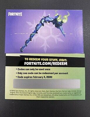 Unused Fortnite Merry Mint Pickaxe Minty Pick Axe Code Card IN HAND PS4 Xbox PC