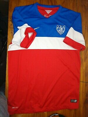 Nike US SOCCER Jersey 2014 World Cup Mens Size Large Futbol Football USA