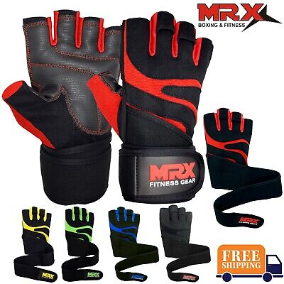 Men Weightlifting Gloves With Wrist Wrap Weight Workout GymTrainingFitness MRX