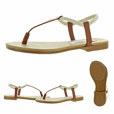 Steve Madden Womens Synergy Leather Thong T-Strap Sandals