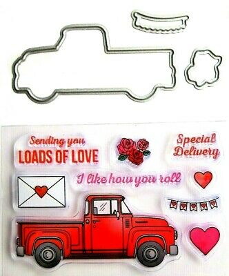 Valentines Day Truck Clear Acrylic Stamp - Die Set by Recollections 615449 NEW