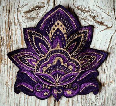 Lotus Blume Aufnäher, violett, lila, Flower Patch, 12 cm, HANDMADE WITH LOVE