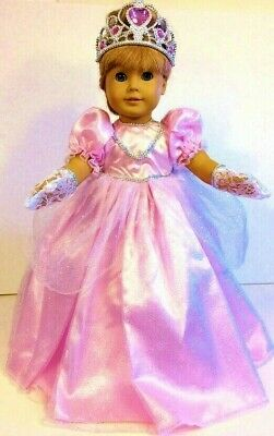 Pink PRINCESS DRESS Fits 18 American Girl Doll Clothes Costume CROWN GLOVES