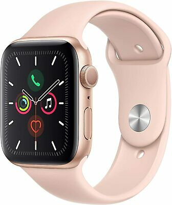 Apple iWatch Series 5 GPS 44mm - Gold Aluminum Case with Pink Sport Band