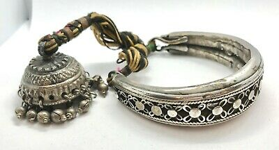 Antique BAJUBAND ARMLET TRIBAL - OLD STERLING SILVER w BELL