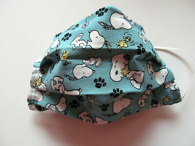 SNOOPY Design Face Mask wFilter Pocket Washable Reusable Cotton Fabric Adult