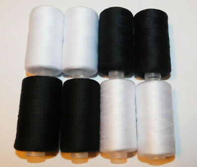 2400 Yards 100 Polyester All-Purpose Black  White Sewing Thread - 4 Pack