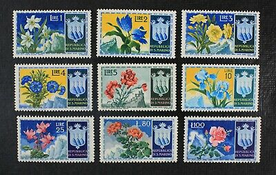 CKStamps Italy Stamps Collection San Marino Scott336-344 Mint H OG