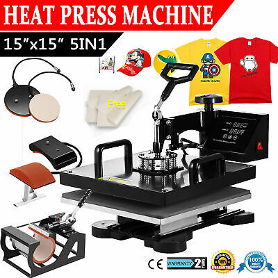 15x15 5 in 1 Heat Press Machine Digital Transfer Sublimation T-Shirt Mug Hat