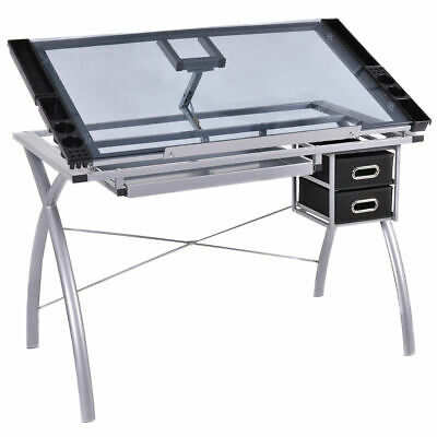 Adjustable Drawing Desk Drafting Table Tempered Glass Top Art Craft w Drawers