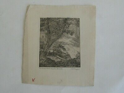 Antique 1930s QUEENS STREET HAMILTON BERMUDA LIMITED ED ETCHING ARTIST SIGNED