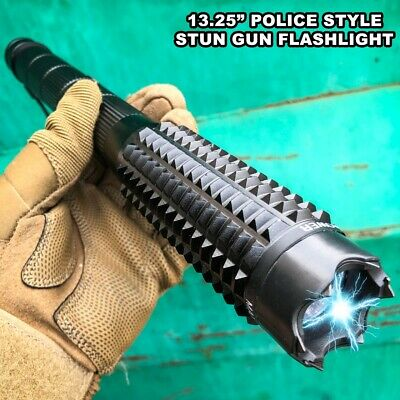 13-25 Metal BLACK Stun Gun 999 Million Volt Rechargeable - LED Flashlight NEW