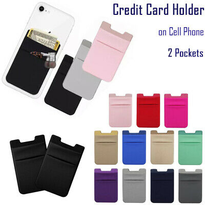 Cell Phone Credit Card Holder Adhesive Lycra Wallet two Pockets Sticker for Key