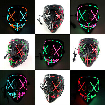 The Purge Movie Halloween Light Up Stitches LED Glow Mask Costume Rave Party