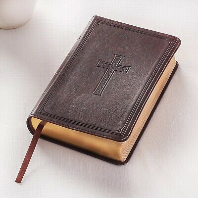KJV Bible Compact Large Print Brown Lux-Leather Red letter New Shrink Wrapped