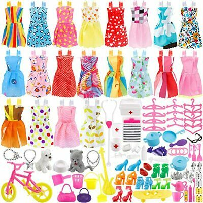 133 Pcs Doll Clothes Party Dress Shoes Bags Necklace Toy Accessory Set Xmas Gift