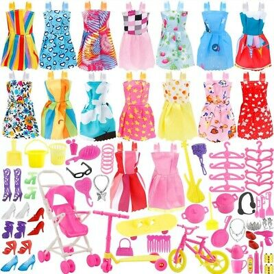 114PCS Doll Clothes Kit 16 Pack Clothes Party Dress- 98pcs Doll Accessories Gift