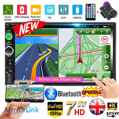 Car Stereo Radio Bluetooth Double 2 Din 7 USB FM AUX IN IOSAndroid Mirror Link