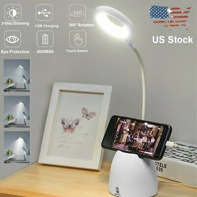Dimmable LED Desk Light Table Bedside Reading Lamp Touch Rechargeable USB Port