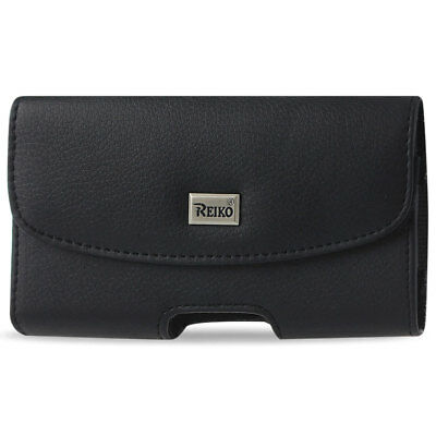 Black Leather Belt Loop Case Horizontal fits GreatCall Lively flip phone