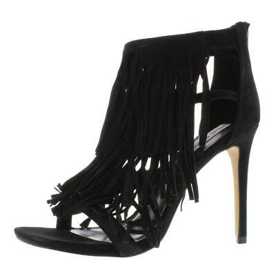 Steve Madden Womens FRINGLY Black Suede Strappy Heels Sandals 6-5 6 BHFO 2959