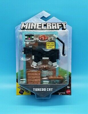 MOJANG MINECRAFT ACTION FIGURE - TUXEDO CAT w 2 FACES - BIOME BLOCK - RARE