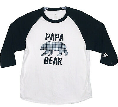 Papa Bear Adidas Dad Fathers day 34 sleeve graphic shirt dad gift Tshirt LARGE