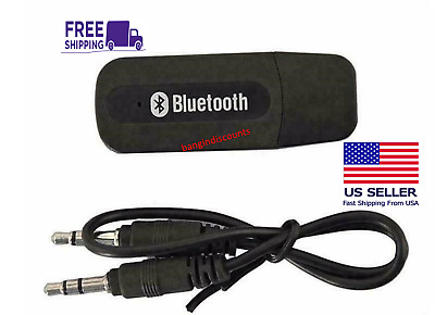 USB Bluetooth Music Stereo Wireless Audio Receiver Adapter 3-5mm Home Car PC AUX