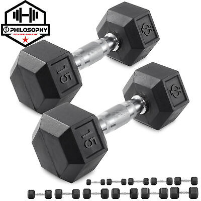 Pair of Rubber Coated Hex Dumbbell Hand Weight Set 3 lb to 50 Pound