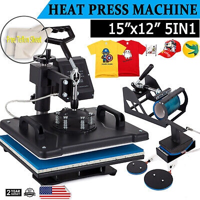 5 in 1 Heat Press Machine Swing Away T-Shirt Mug Hat 12x15 Digital Transfer