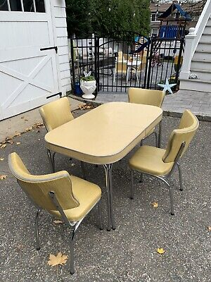 RETRO Yellow  CHROME DINETTE 4 DINING CHAIRS - TABLE SET