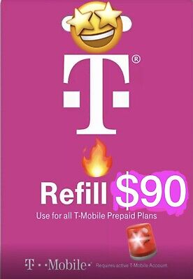 T-Mobile 90 Prepaid Refill Card Air Time Top-Up SAME DAY DIRECT REFILL