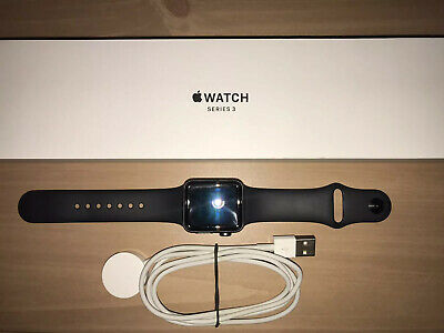 Apple Watch Series 3 38mm Space Gray Aluminum Case Black Sports Band -GPS