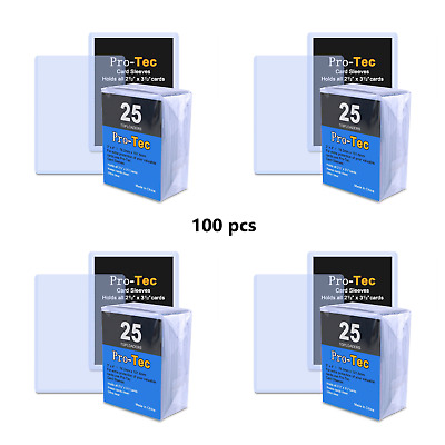100 Pack Pro-Tec Toploaders Top Loader Card Sleeve for SportsTrading - 3x4