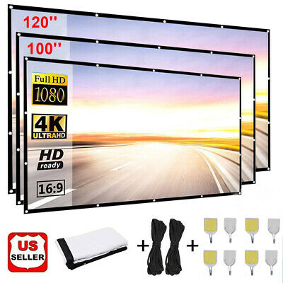 84100120 Portable Projector Screen 169 HD 4K Home Cinema Theater 3D Movie
