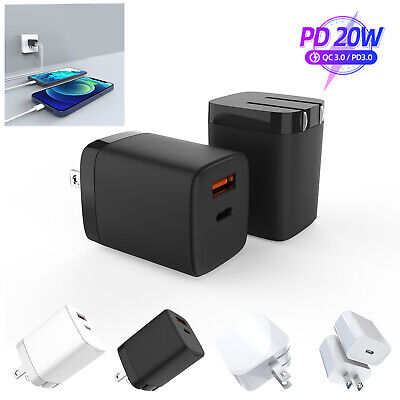 For iPhone 1211 Pro Max 20W PD3-0 USB-C Type-C Wall Fast Charger Power Adapter
