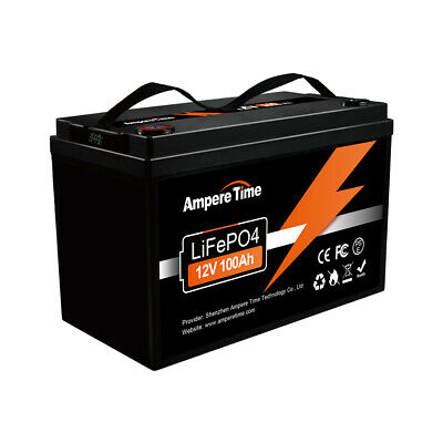 Ampere Time 12V 100Ah LiFePO4 Lithium Battery 1280W for RV Off-Grid Solar System