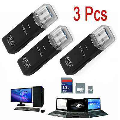 3 X USB 3-0 2 in 1 HighSpeed Memory Card Reader for Micro SD SDXC TF T-Flash USA