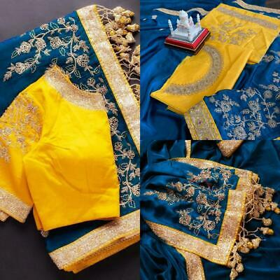 Silk Embroidery Sequence Work Saree Indian Wedding Party Wear Sari Blouse