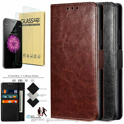 For Apple iPhone 7 8 Plus Phone Case Premium Leather Wallet Cover Tempered Glass