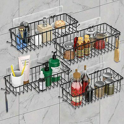 4-Pack Shower Caddy Basket Bathroom Shelf with Hooks - No-Drill Wall Mounted
