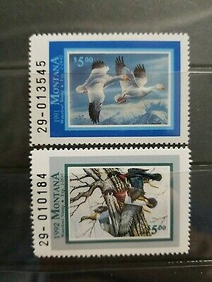 MT6MT7 Montana 199192 5 State Duck Stamps Snow GeeseWood Duck MNH 060803