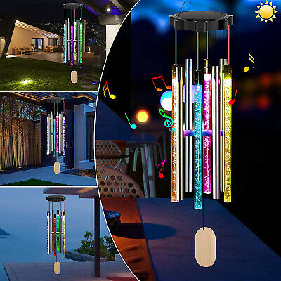 Solar Color Changing Wind Chimes LED Hanging Light Yard Decor with 8 Tubes US